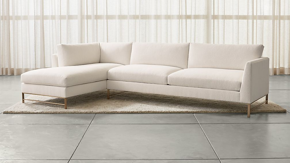 Genesis 2-Piece Left Arm Chaise Sectional with Brushed Stainless Steel Base