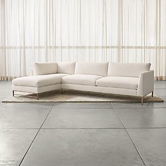 Genesis 2-Piece Left Arm Chaise Sectional with Brushed Brass Base