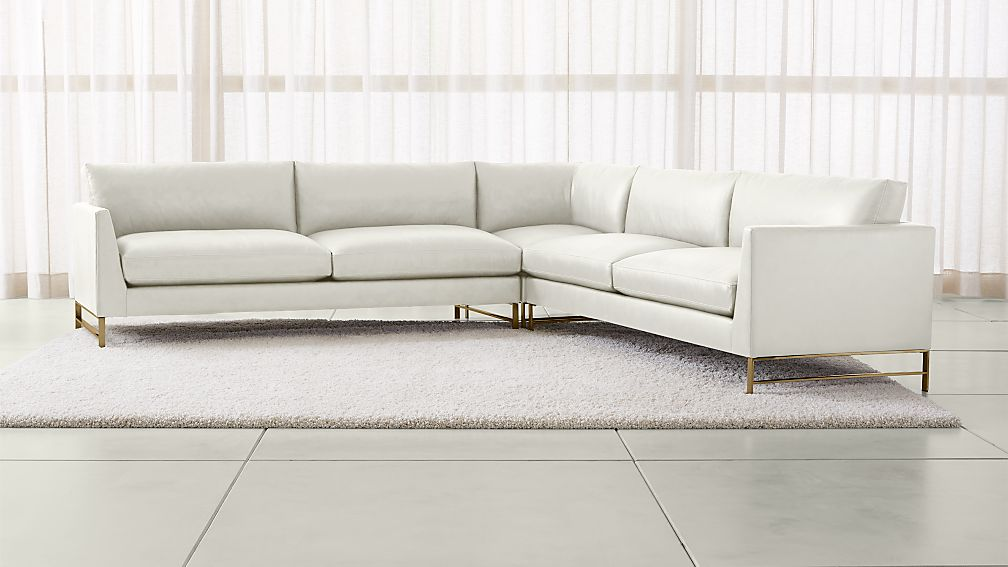 Genesis Leather 3-Piece Left Corner Sectional with Brushed Brass Base