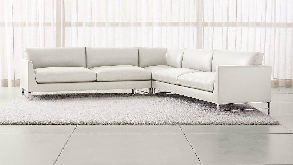 Genesis Leather 3-Piece Left Corner Sectional with Brushed Stainless Steel Base