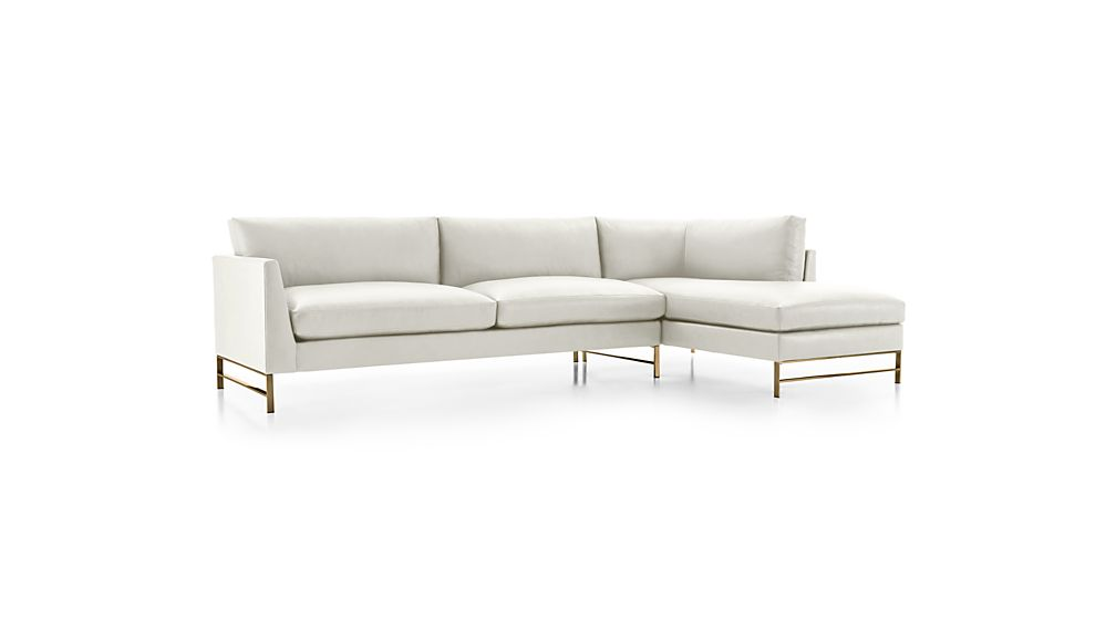 Genesis Leather 2-Piece Right Arm Chaise Sectional with Brushed Brass Base