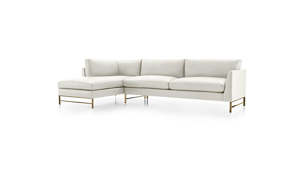 Genesis Leather 2-Piece Left Arm Chaise Sectional with Brushed Brass Base