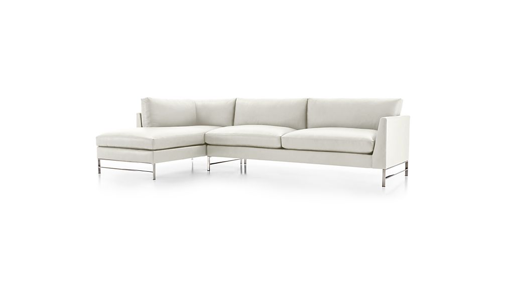 Genesis Leather 2-Piece Left Arm Chaise Sectional with Brushed Stainless Steel Base