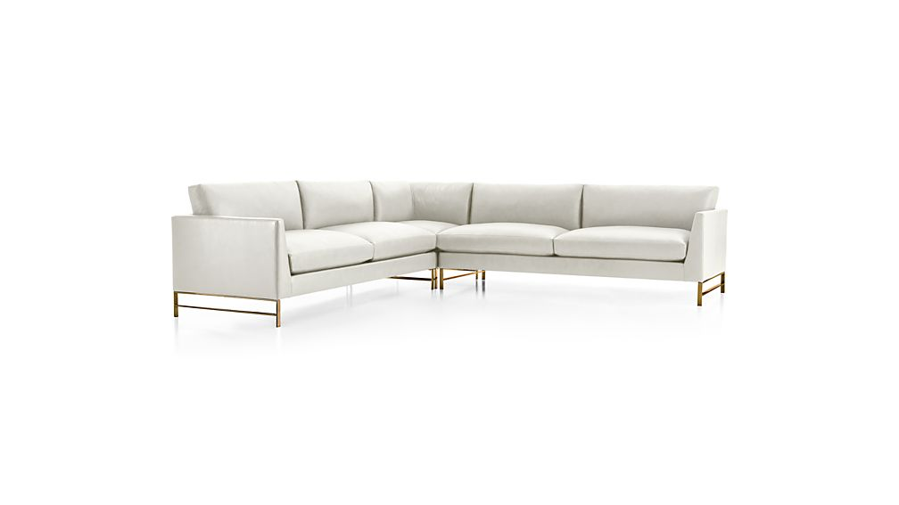 Genesis Leather 3-Piece Right Corner Sectional with Brushed Brass Base