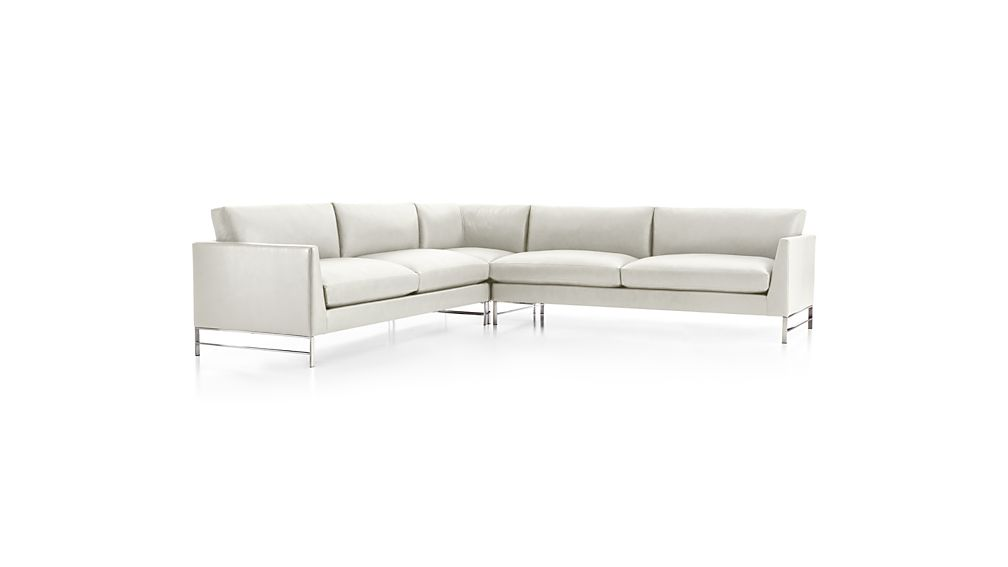 Genesis Leather 3-Piece Right Corner Sectional with Brushed Stainless Steel Base