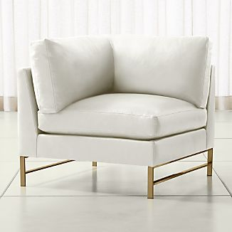 Genesis Leather Left Corner Chair with Brushed Brass Base