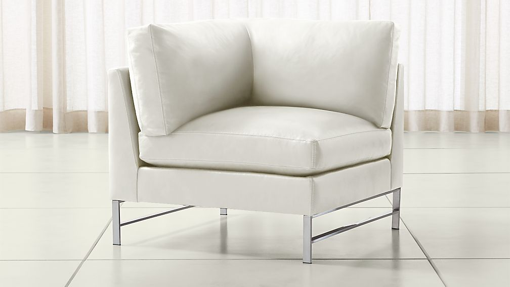 Genesis Leather Left Corner Chair with Brushed Stainless Steel Base