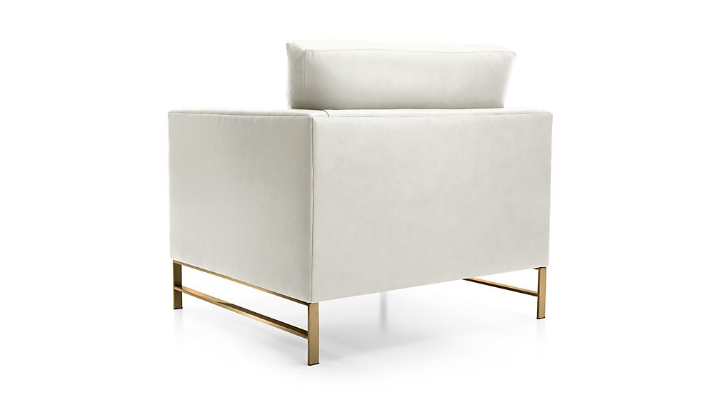 Genesis Leather Chair with Brushed Brass Base