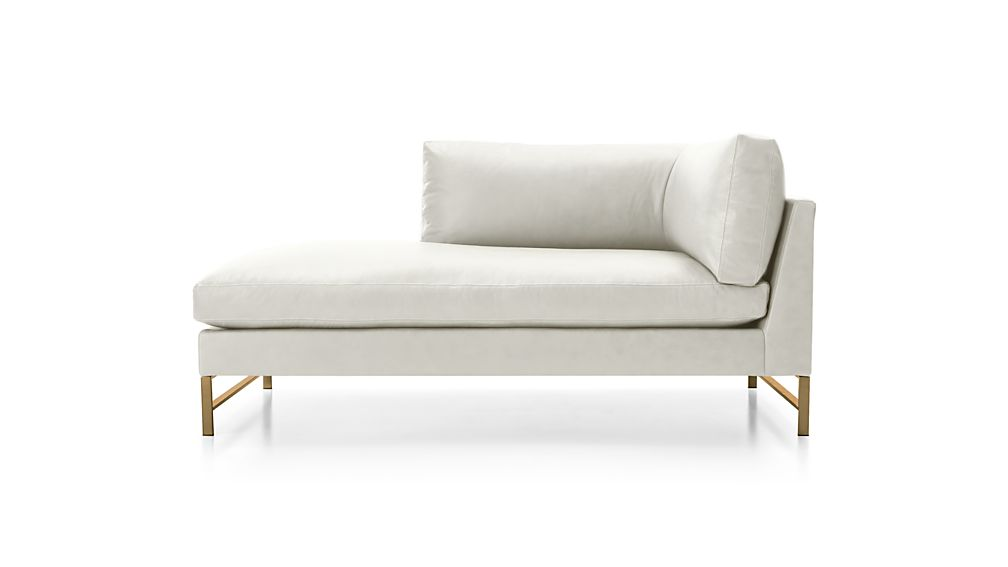Genesis Leather Left Arm Chaise with Brushed Brass Base