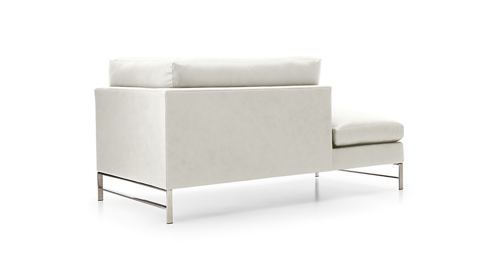 Genesis Leather Left Arm Chaise with Brushed Stainless Steel Base