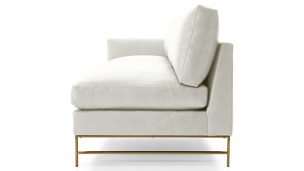 Genesis Leather Left Arm Sofa with Brushed Brass Base