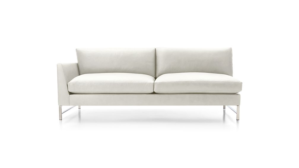Genesis Leather Left Arm Sofa with Brushed Stainless Steel Base