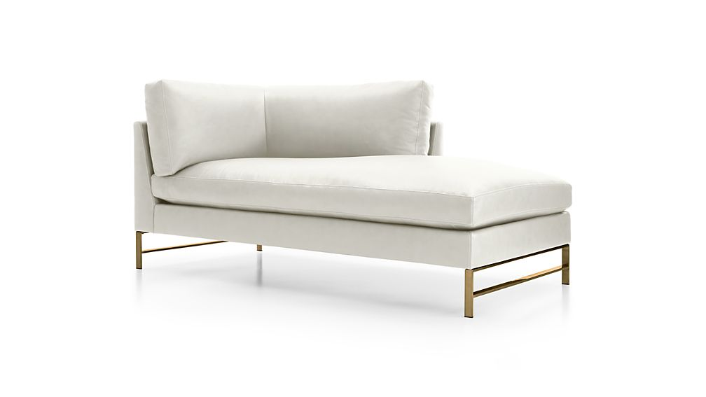 Genesis Leather Right Arm Chaise with Brushed Brass Base