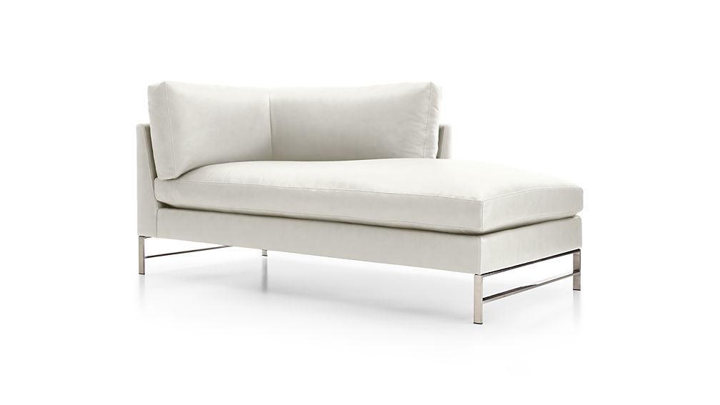 Genesis Leather Right Arm Chaise with Brushed Stainless Steel Base
