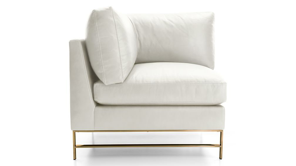 Genesis Leather Right Corner Chair with Brushed Brass Base