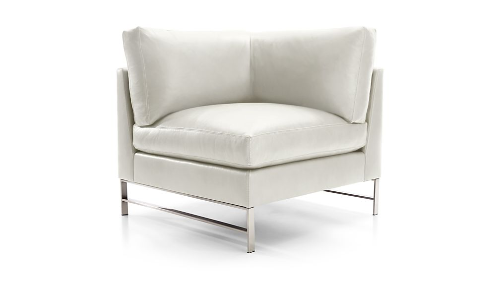 Genesis Leather Right Corner Chair with Brushed Stainless Steel Base