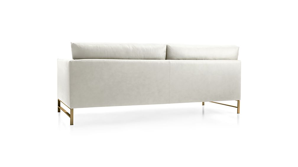 Genesis Leather Right Arm Sofa with Brushed Brass Legs