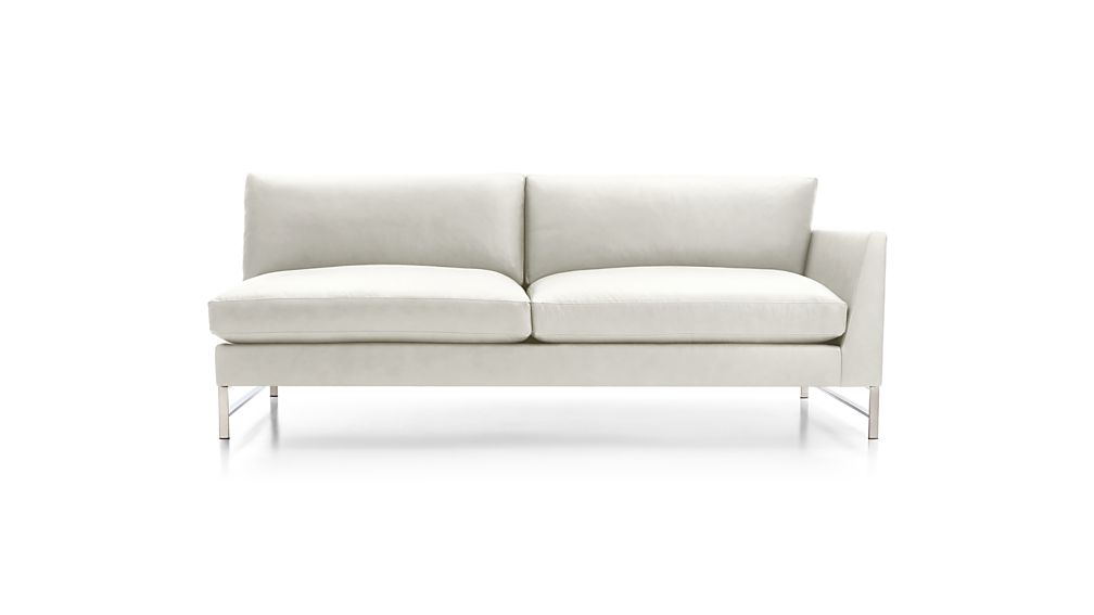 Genesis Leather Right Arm Sofa with Brushed Stainless Steel Base