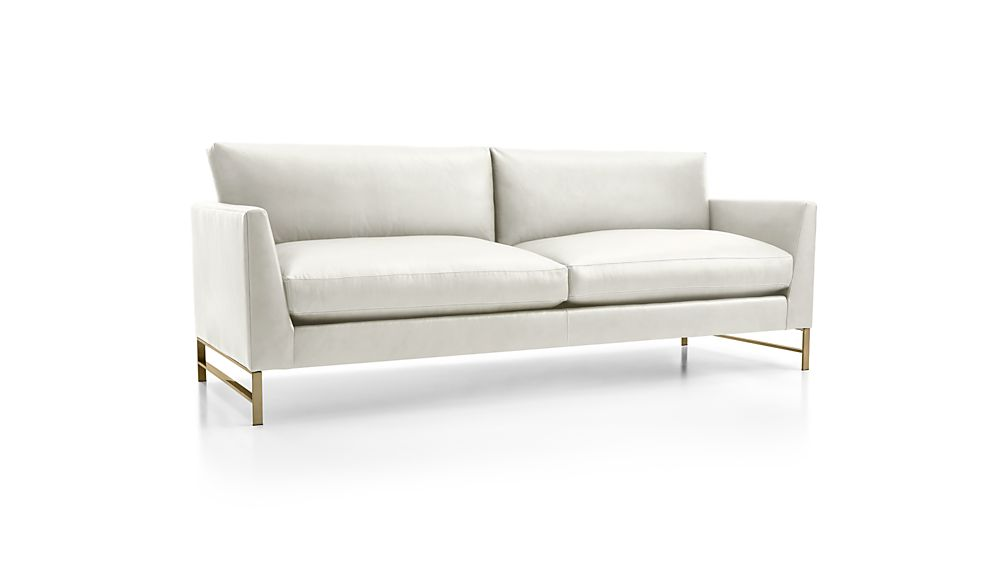 Genesis Leather Sofa with Brushed Brass Base