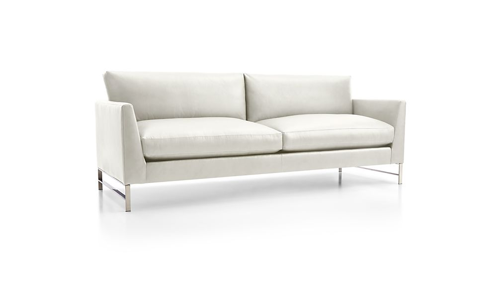 Genesis Leather Sofa with Brushed Stainless Steel Base