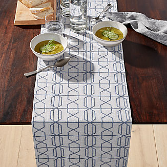 Geneva Blue Embroidered Table Runner