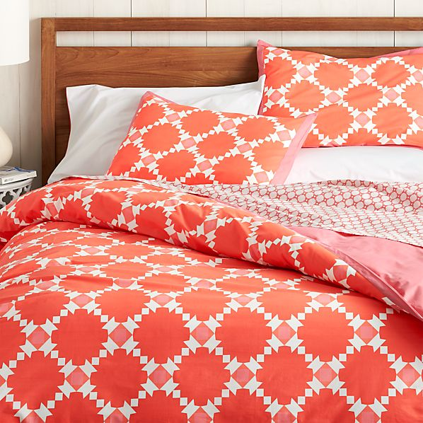 Genevieve Coral Twin Duvet Cover