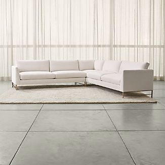 Genesis 3-Piece Left Corner Sectional with Brushed Brass Base