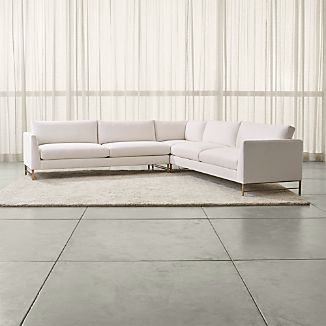 Genesis 3-Piece Right Corner Sectional with Brushed Brass Base