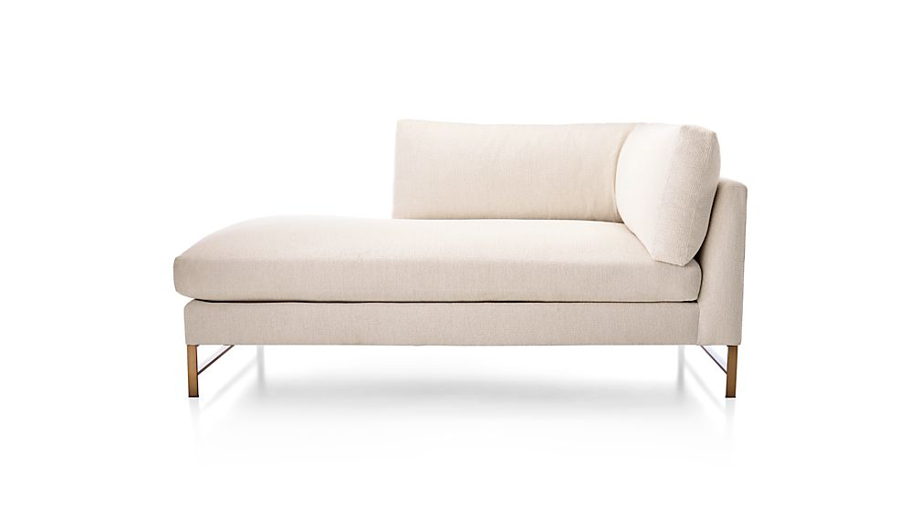 Genesis Left Arm Chaise with Brushed Brass Base