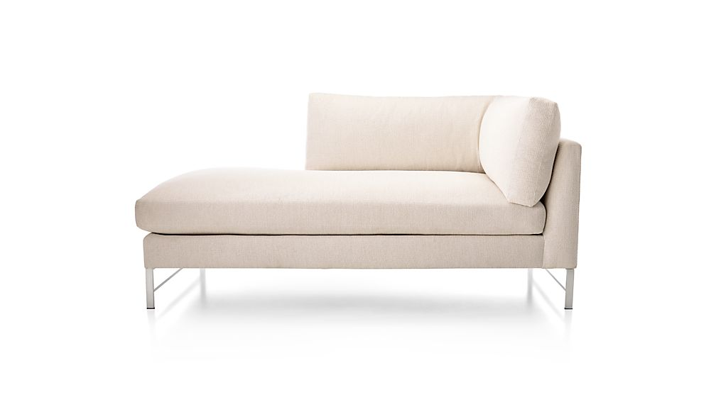 Genesis Left Arm Chaise with Brushed Stainless Steel Base