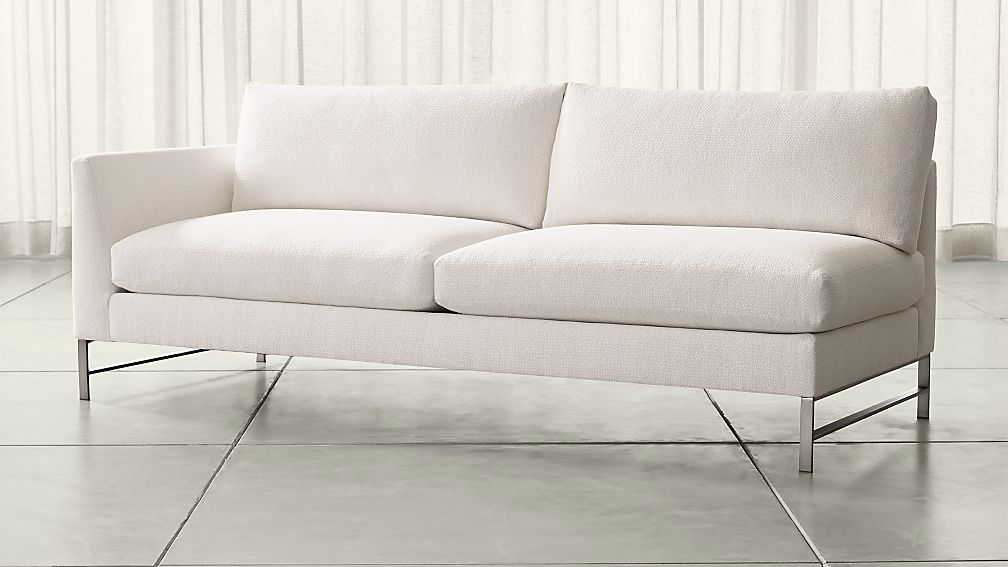 Genesis Left Arm Sofa with Brushed Stainless Steel Base