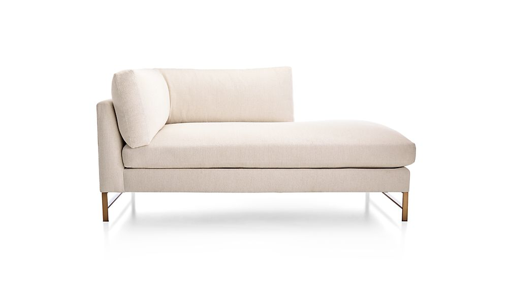 Genesis Right Arm Chaise with Brushed Brass Base