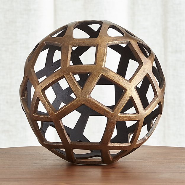 Geo large decorative metal ball crate and barrel