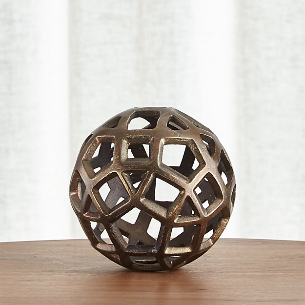 Geo small decorative metal ball crate and barrel