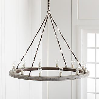 "Geoffrey 48"" Round Wood Chandelier"