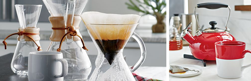 Chemex Coffee Maker and Red Bride Tea Kettle