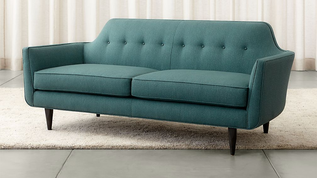 Gia Blue Modern Tufted Apartment Sofa | Crate and Barrel