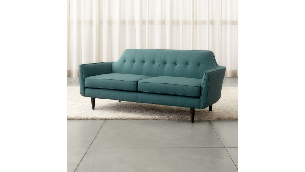 Gia Blue Modern Tufted Apartment Sofa + Reviews | Crate and Barrel