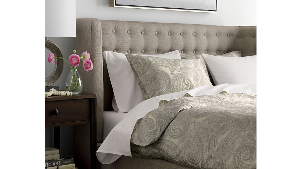 Gia Upholstered Grey Tufted Bed Crate And Barrel