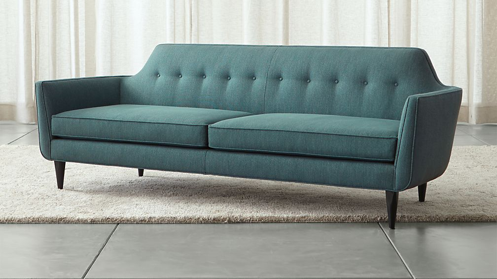 Gia Modern Blue Tufted Sofa + Reviews | Crate and Barrel