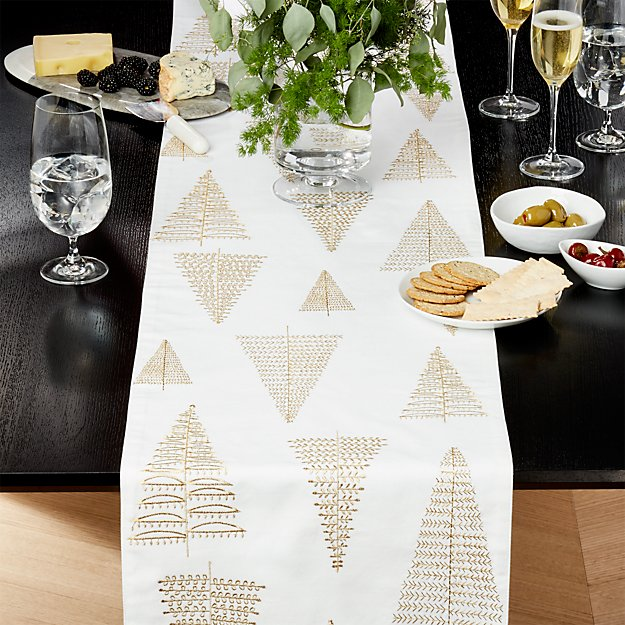 "Gilded Trees Embroidered 120"" Table Runner"