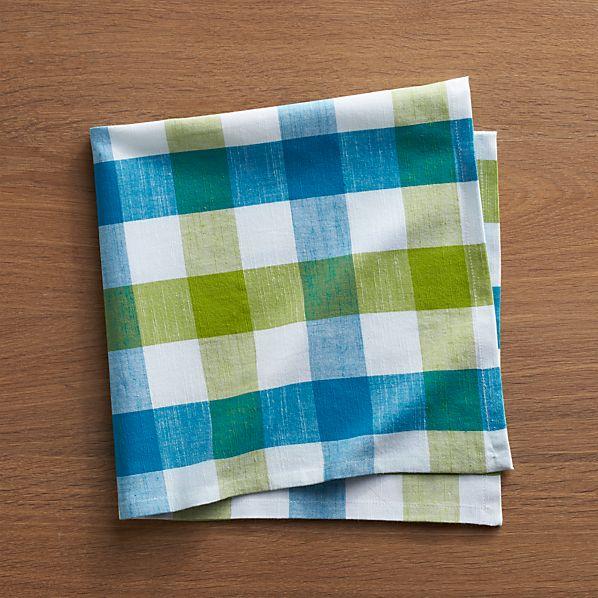 Gingham Green-Blue Napkin