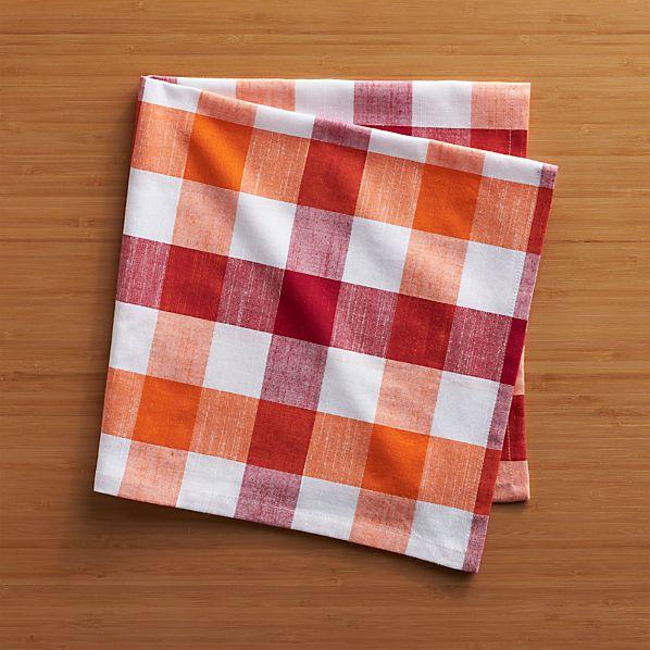 Gingham Red-Orange Napkin