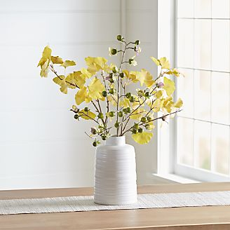 Decorative vases glass and ceramic crate and barrel yellow gingko faux flower arrangement mightylinksfo