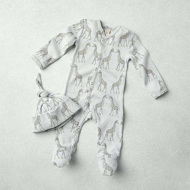 0d0172a08ae Giraffe Kate Quinn Organic 3-6 Months One-Piece and Hat Set + Reviews |  Crate and Barrel