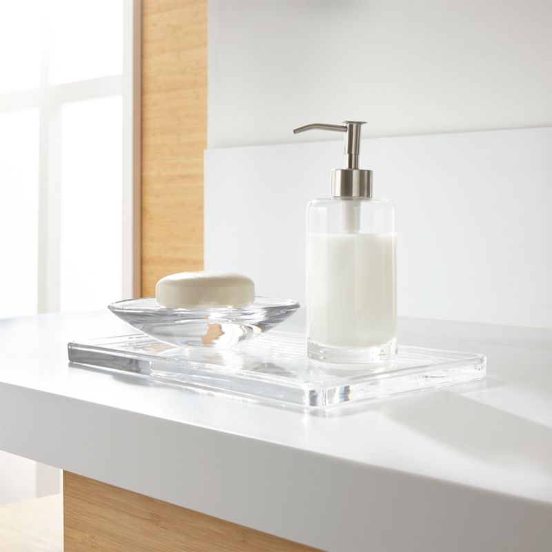 glass bathroom accessories set of 3 | crate and barrel
