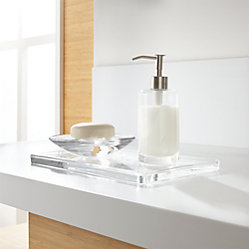 Glass vanity tray crate and barrel for Bathroom accessories location