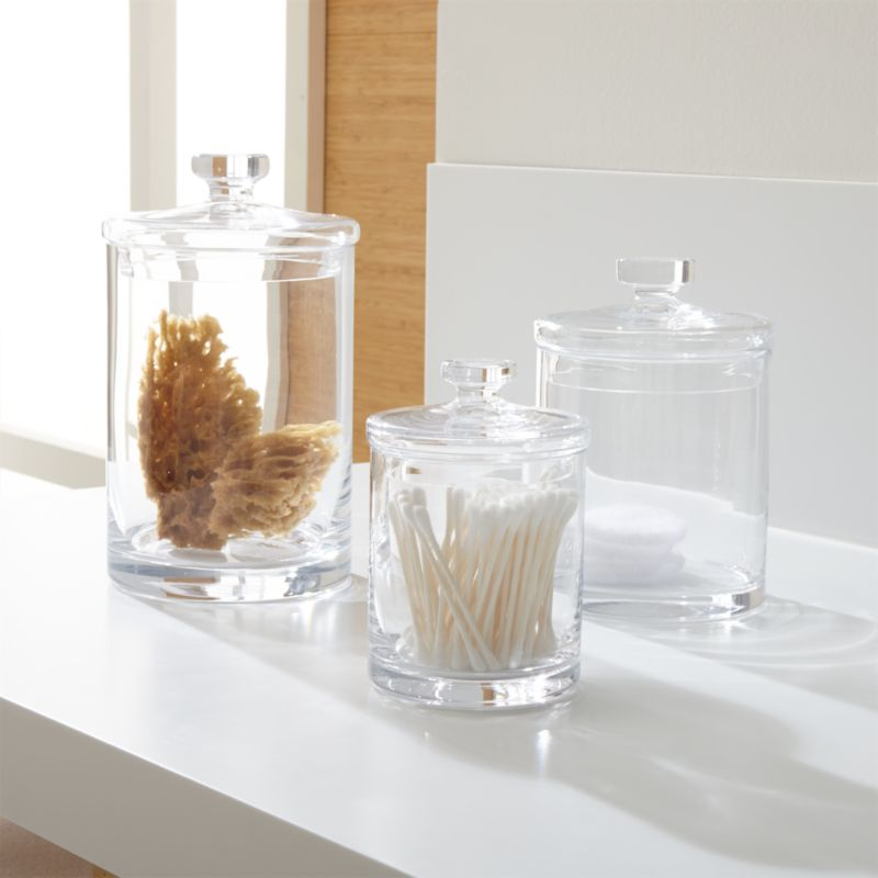 glass bathroom accessories sets.  Set of 3 Glass Canisters Crate and Barrel