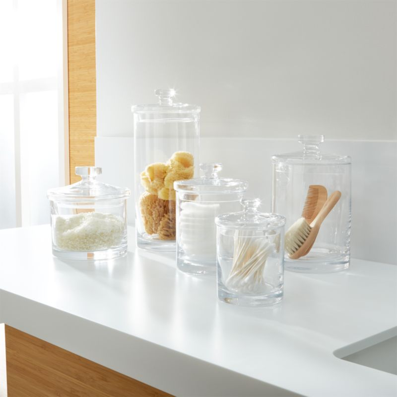 Glass Canisters. Bathroom Accessories and Furniture   Crate and Barrel
