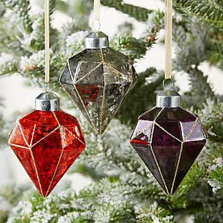 07dfe3717de3f Glass Diamond Ornaments with Glitter
